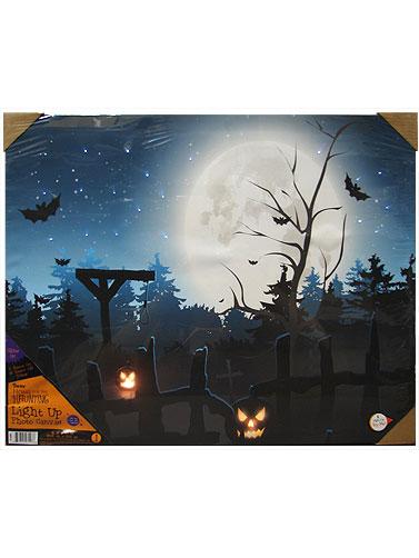 Halloween Cemetery LED Canvas Art Decoration Halloween - Led Halloween Decorations