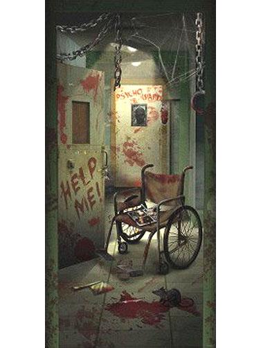 Asylum Door Decoration, Asylum Party Decorations  ~ 074650_Halloween Asylum Door Prop