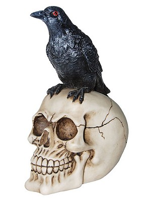 skull with crow on top - Halloween Skull Decorations