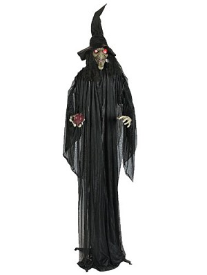 standing witch with red apple - Halloween Witch Decoration