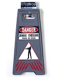 Zombie Warning Floor Sign with Tape