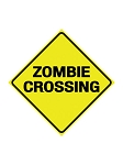 Zombie Crossing Metal Sign