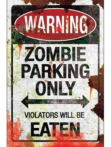 Zombie Parking Metal Sign Halloween Zombie Signs