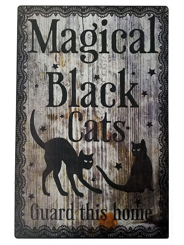 Magical Black Cats Metal Sign
