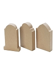 Small Paper Mache Tombstones - 3 Pc