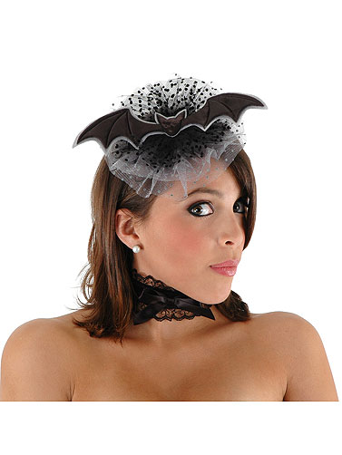 Satin Bat Tulle Hat and Choker Set