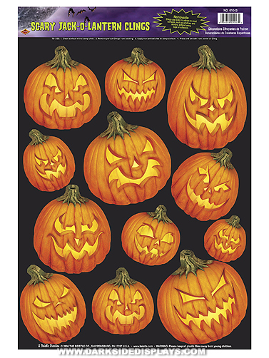 Scary Jack-O-Lanterns Halloween Cling