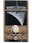 Evil Skeleton Guillotine Cling