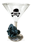 Black Rose Skull Martini Glass
