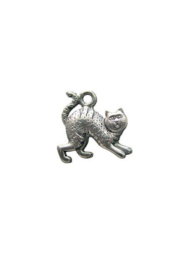 Halloween Scared Cat Pewter Charm