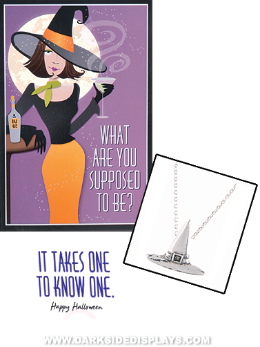 Witch Hat Charm Necklace with Halloween Card