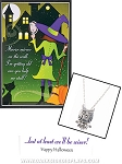 Owl Charm Necklace with Halloween Card