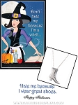 Witch Shoe Charm Necklace with Halloween Card