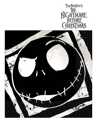 Nightmare Before Christmas Illustration.Nightmare Before Christmas Beverage Napkins Jack Skellington Napkins Darkside Displays