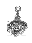Halloween Witch Head Pewter Charm