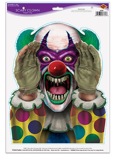 Scary Clown Peeper Cling