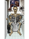 Spooky Skeleton Bathroom Door Cover
