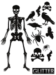 Glitter Jointed Skeleton Decor Kit