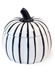 White and Black Ceramic Pumpkin Dish