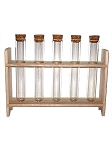 Glass Test Tubes with Wooden Stand