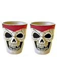 Plastic Skull Shot Glass Set - Red
