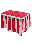 Red and White Stripes Table Skirt