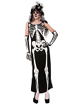 Skeleton Bone Long Dress Costume