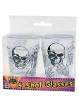 Skeletons Shot Glass 4 PC Set