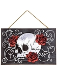 Skull With Roses Wood Sign