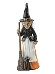 Halloween Witch with Broom Figurine