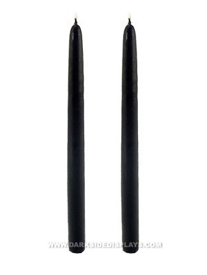 12 in Black Taper Candles - 2 Pc