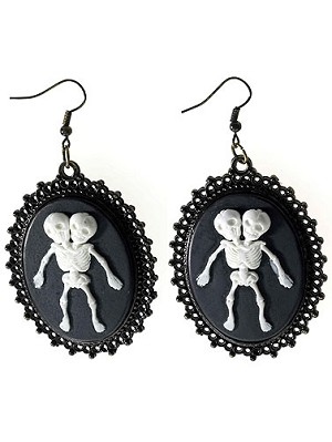 Conjoined Skeleton Twins Earrings