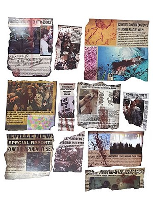 Zombie Apocalypse Newspaper Clipping Cut Out Decoration Zombie