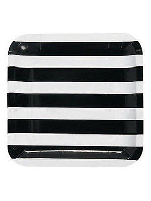 Black and White Stripes Luncheon Plates