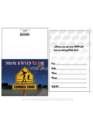 Zombie Zone Party Invitations