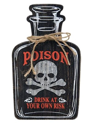 Poison Bottle Wood Sign